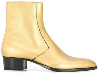 Saint Laurent Wyatt metallic finish ankle boots