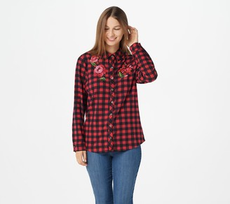 Quacker Factory Floral Embroidered Button-Front Plaid Top