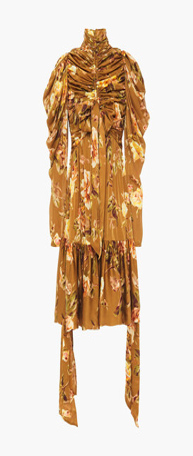 Zimmermann Bow-embellished Ruched Floral-print Silk-satin Mini Dress