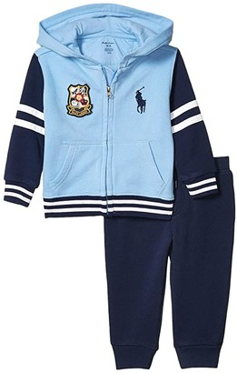 Polo Ralph Lauren French Terry Hoodie Pants Set (Infant) (Blue Lagoon) Boy's Active Sets