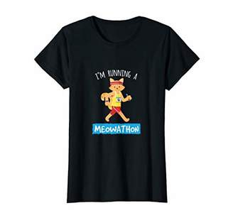 Womens Funny Running Meowathon Cat Lover Cross Country Gift Women T-Shirt