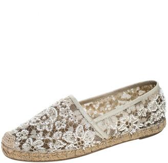 Valentino White Lace Embellished Espadrilles Slip On Loafers Size 35