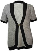 Calvin Klein Women's Short Sleeve Sweater Cardigan with Buckle