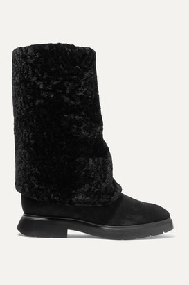 Stuart Weitzman Luiza Chill Shearling-lined Suede Boots - Black