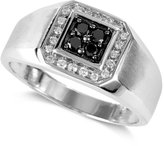 Effy Gento by Men's Black Diamond (1/5 ct. t.w.) and White Diamond (1/8 ct. t.w.) Square Ring in 14k White Gold