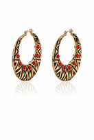 House Of Harlow Tribal Hoop Earrings in Coral