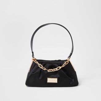 River Island Womens Black satin chain underarm bag