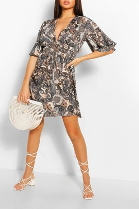 boohoo Paisley Lace Up Flute Sleeve Skater Dress