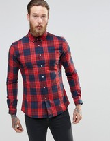 Asos Skinny Shirt With Grid Check In Red With Long Sleeves