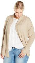 Jason Maxwell Women's Plus-Size Rack Stitch Turnback Collar Cardigan Sweater