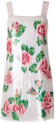 Dolce & Gabbana Rose-Print Sequined Mini Dress