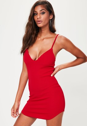 Missguided Petite Red Strappy Plunge Bodycon Dress