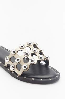 Nasty Gal Womens On The Other Slide Studded Cage Sliders - Metallics - 3, Metallics