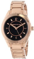 Kenneth Jay Lane Women's KJLANE-2211 Black Dial Rose Gold Ion-Plated Stainless Steel Watch