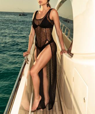 Mapale Women's Swimsuit Coverups Black - Black Side-Slit Sheer Cover-Up - Women