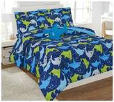 Elegant Home Sharks Design Multicolor Blue Green Fun 8 Piece Comforter Bedding Set for Boys / Kids Bed In a Bag With Sheet Set & Decorative TOY Pillow # Shark (Full)