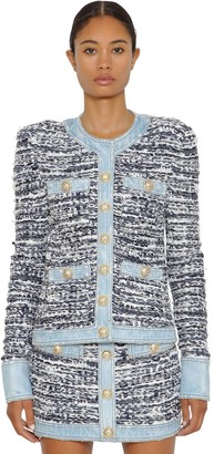 Balmain Buttoned Tweed & Denim Jacket