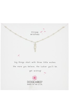 Dogeared Sterling Silver Three Wishes Italian Horn Pendant Necklace