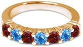 Gem Stone King 1.40 Ct Round Red Garnet Swiss Blue Topaz 14K Yellow Gold Wedding Band Ring