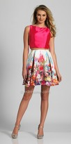 Dave and Johnny Two Piece Open Back Multi Color Floral Cocktail Dress