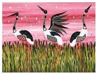 Maxwell & Williams Melanie Hava Jugaig-Bana-Wabu Tea Towel 50x70cm Jabirus Pink