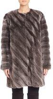 The Fur Salon Collarless Mink Fur Diagonal Coat