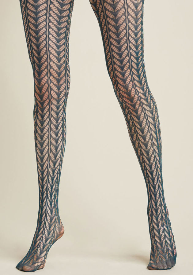 ModCloth Motif Maven Tights in Teal