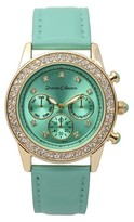 Journee Collection Women's Rhinestone Accented Round Face Patent Leather Strap Watch