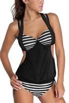 SunIfSnow Women Conservative Push Up Solid Color Splice Striped Halter Tankini Bikini XL