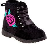 KensieGirl Black Velvet Rose Ankle Boot