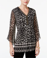 JM Collection Chain-Neck Chiffon-Sleeve Tunic, Only at Macy's