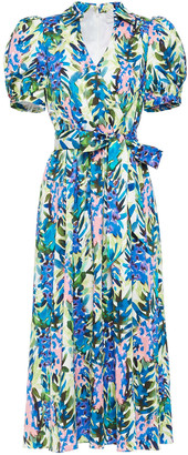 Badgley Mischka Belted Floral-print Poplin Midi Dress