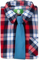 Future Trillionaire Plaid Short Sleeve Shirt & Solid Tie (Toddler, Little Boys, & Big Boys)