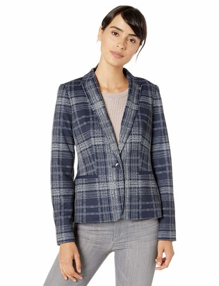 Tommy Hilfiger Women's Printed Plaid One Button Sweatshirt Blazer