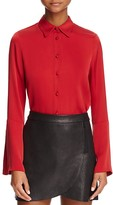Alice + Olivia Myrtle Trumpet Sleeve Stretch Silk Blouse