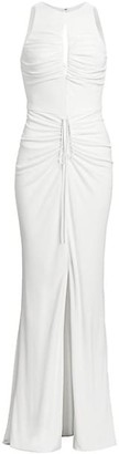 CDGNY by CD Greene Ruched Keyhole Drawstring Gown