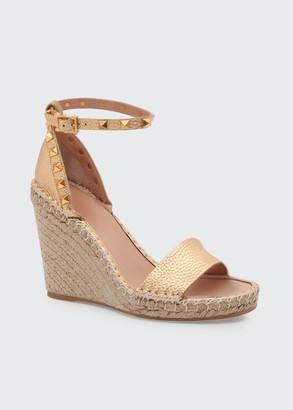 Valentino Rockstud Metallic Wedge Espadrille Sandals