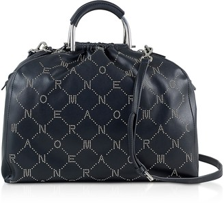 Ermanno Scervino Black Signature Satchel Bag w/Metal Handles & Studs