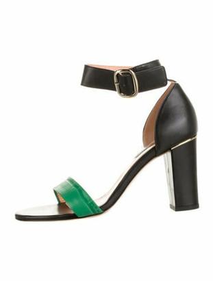 Marina Rinaldi Leather Colorblock Pattern Sandals Green