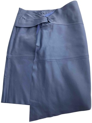 BA&SH Spring Summer 2018 Blue Leather Skirt for Women