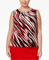 Calvin Klein Plus Size Pleat-Neck Shell
