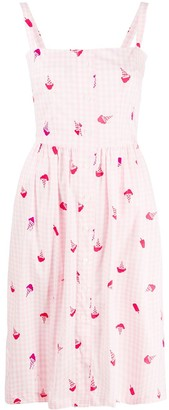 HVN Ice-Cream-Print Gingham Dress