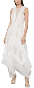 BCBGMAXAZRIA Andi Asymmetrical Striped-Lace Dress