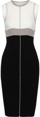 Narciso Rodriguez Color-block Ribbed-knit Dress