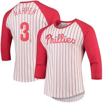 Majestic Men's Threads Bryce Harper White/Red Philadelphia Phillies Softhand Cotton Pinstripe 3/4-Sleeve Raglan T-Shirt