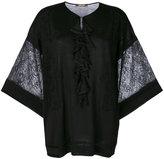 Roberto Cavalli lace trim knitted top