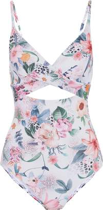 Jets Gypsy Crossover Cutout Floral-print Swimsuit