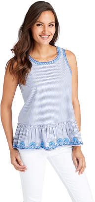 Vineyard Vines Striped Embroidered Swing Top