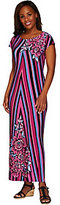 Bob Mackie As Is Bob Mackie's Printed Jersey Knit Cap Sleeve Maxi Dress
