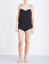 Eberjey Dominique jersey and lace playsuit